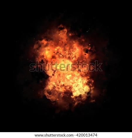 Big explosion fire ball  - stock photo