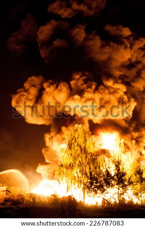 Big explosion with a lot of smoke and fire