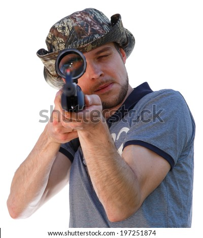 Big eye of aiming shooter in telescopic scope - stock photo