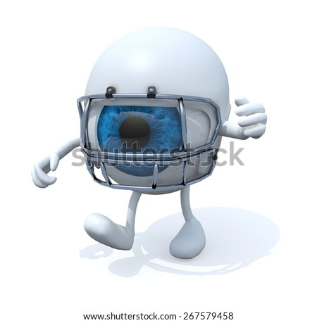 big eye with arms, legs and rugby helmet, 3d illustration