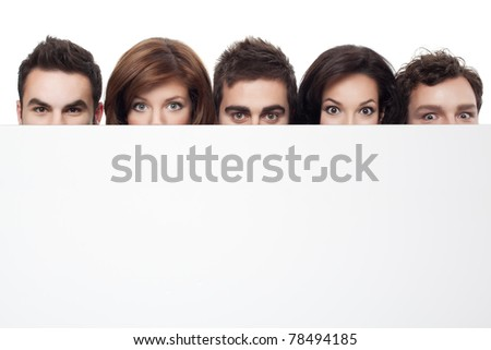 big eyes showing behind copy space for advertising - stock photo