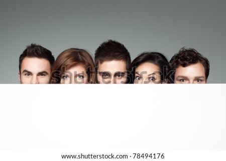big eyes showing beside copy space for advertising - stock photo
