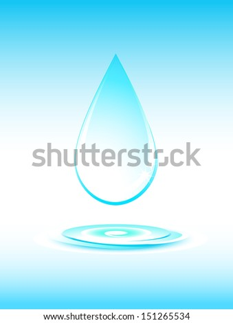 big falling pure water drop silhouette on light blue background