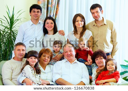 big family at home - stock photo