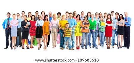 Big family people group isolated white background. - stock photo