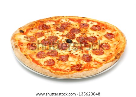 big fat italian salami pizza - stock photo