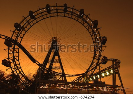 Big ferries wheel in Vienna (Austria) in the evening