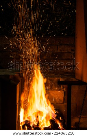 Big Fire burning cole. - stock photo