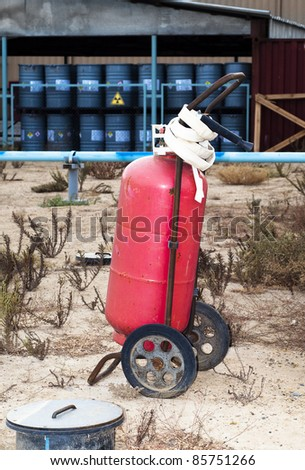 big fire extinguisher on industrial site