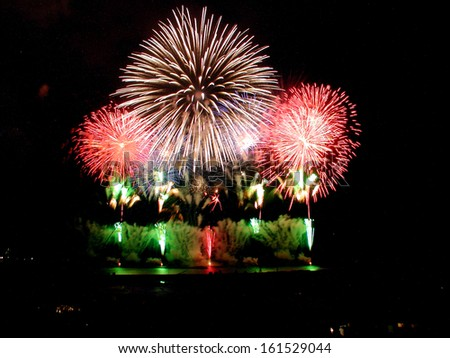 Big fireworks in bright colors in a night sky. - stock photo