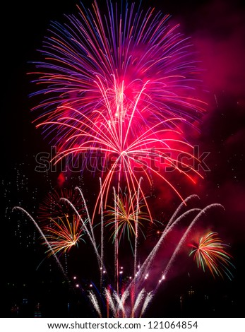 Big Fireworks of Pattaya Beach Thailand, Coming Christmas and New Year 2013 - stock photo