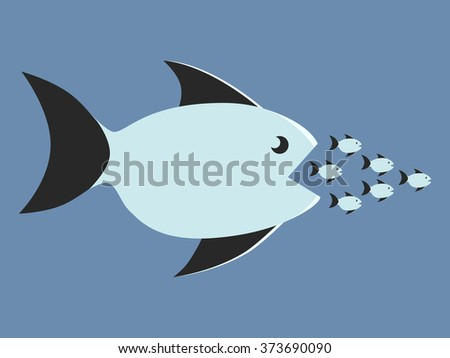 Big fish eating many small ones. Food chain, competition, merger, business, monopoly concept - stock photo