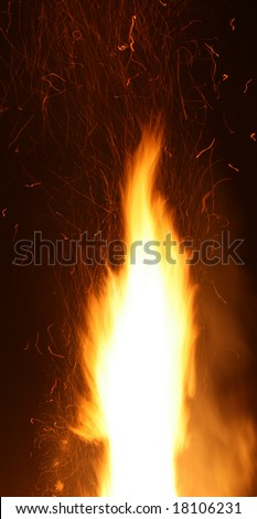Big flame of a fire with flying sparks