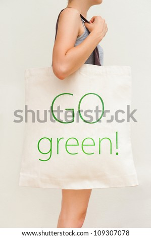 "Big flax eco bag ""Go green!"" - stock photo"