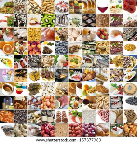 Big food collage with white background