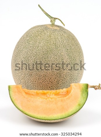 Big fresh Melon on white background