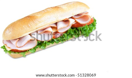 Big freshly made sandwich with lettuce, tomatoes. cheese, and some meat isolated on white background