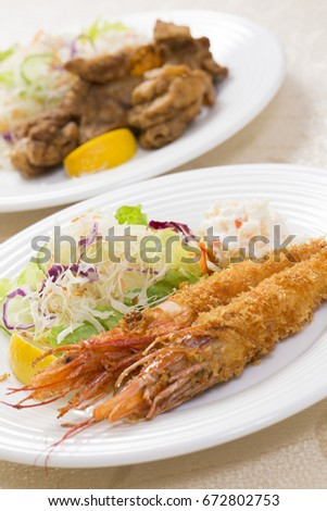 Big fried shrimps