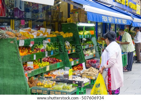 Big fruit and vegetable market at Southall Broadway - LONDON / ENGLAND - SEPTEMBER 23, 2016