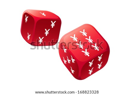 Big gamble with international currency dice  - stock photo