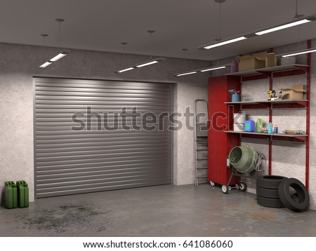 Big Garage Interior With Garage Doors, 3d Illustration