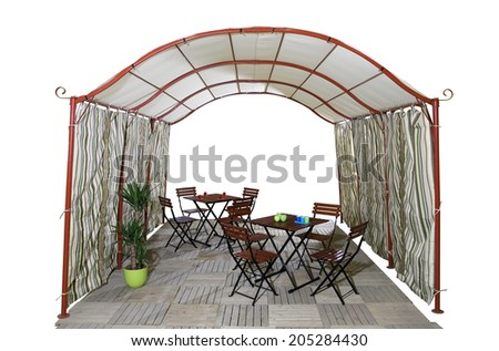 Big garden tent and garden furniture isolated on white background - stock photo