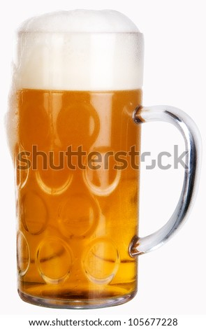 big glass with beer on a white background - stock photo