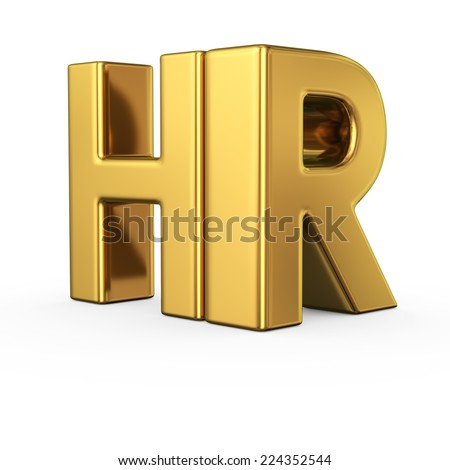 Big gold letters HR isolated on white background. Human resources department - stock photo