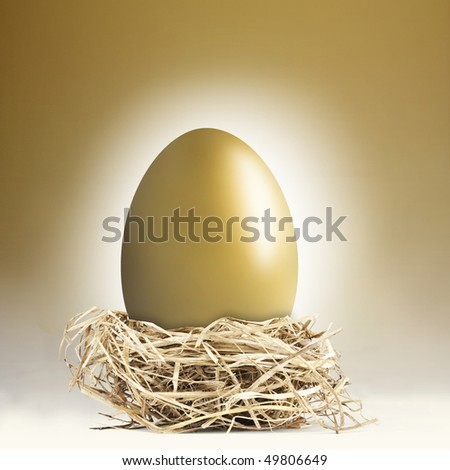 Big gold nest egg with a golden background - stock photo
