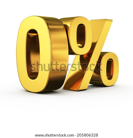 Big gold zero percent sign on white background