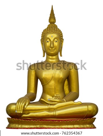 Big Golden Buddha statue isolate on white background include clipping path