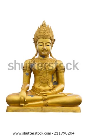 Big golden buddha statue on white background. Weather makes Buddha statue has been damaged. Thai Antiques and thai ancient remains is a public place,  anyone can visit, take pictures and no copyright.