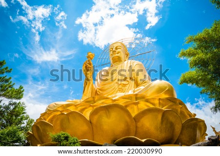 Big Golden Buddha with Lotus Flower at Da Lat, Vietnam