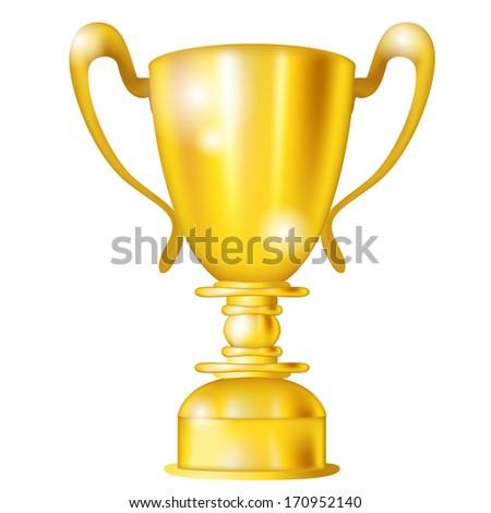 Big golden icon of award isolated over white - stock photo