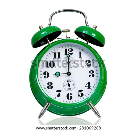 Big green alarm clock, isolated on white - stock photo