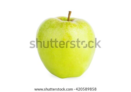 Big green apple isolated on white background - stock photo