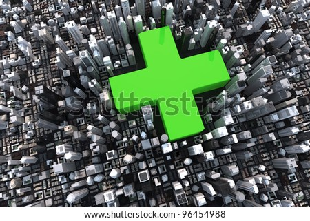Big green cross in a 3D city with skyscrapers - stock photo