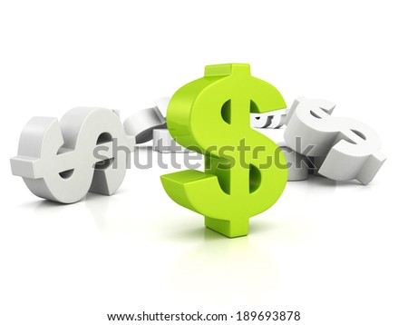 big green dollar currency symbol out from whites. business finance concept 3d tender illustration - stock photo