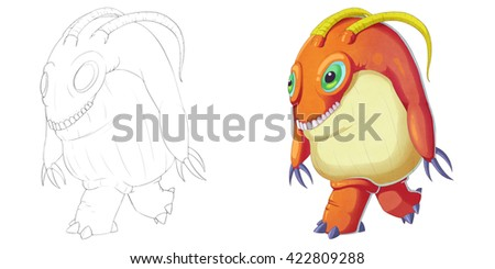 Big Green Eye and Teeth Creature Monster isolated on White Background. Realistic Fantastic Cartoon Style Character Design, Story, Card, Sticker Design - stock photo