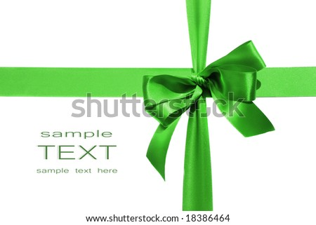 Big green holiday bow on white background - stock photo