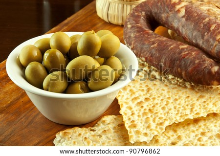 Big green sardinian olives - stock photo
