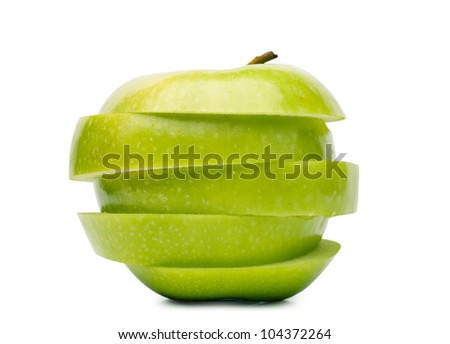 Big green sliced apple isolated over white background