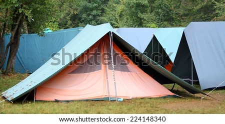 big green tents in occasional camping - stock photo