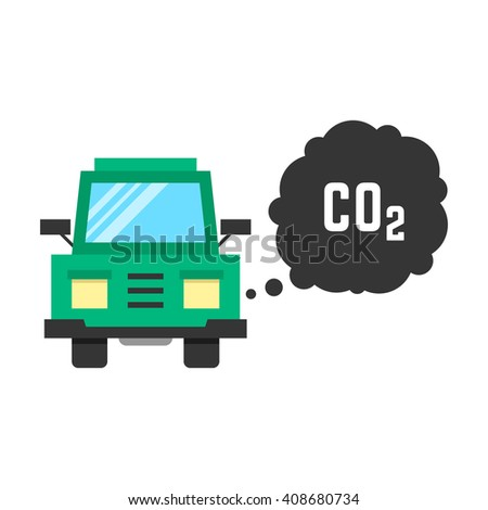 big green truck emits carbon dioxide. concept of smog, pollutant, damage, contamination, garbage, combustion products. isolated on white background. flat style trend modern design illustration - stock photo