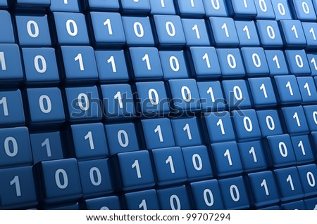 Big group of binary cubes - stock photo