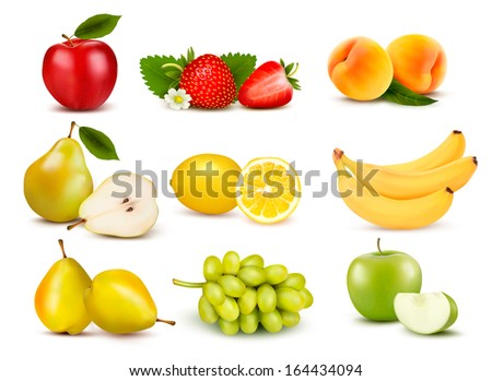 Big group of different fruit. Raster version  - stock photo