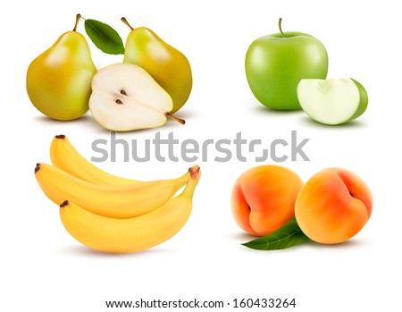 Big group of different fruit.  Raster version of vector.  - stock photo