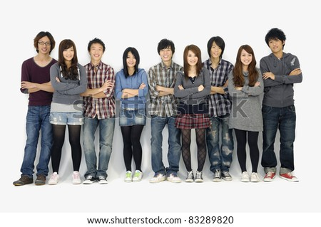 Big Group of happy friends isolated - stock photo