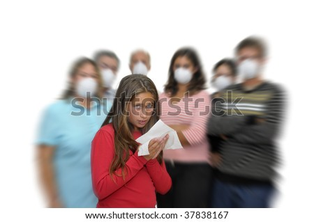 Big group of people with masks and one isolated sick child with the flu - stock photo