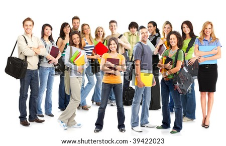 Big group of the young smiling  students. Over white background - stock photo
